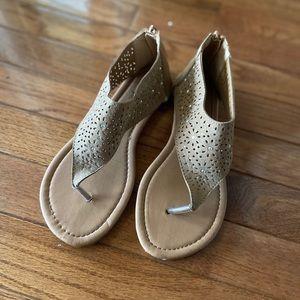 Girls Bebe Tan Zippered-Back Sandals